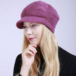 New Lady Fashion Solid with Warm Faux Fur Lining Sweater Soft Spring Winter Hat -