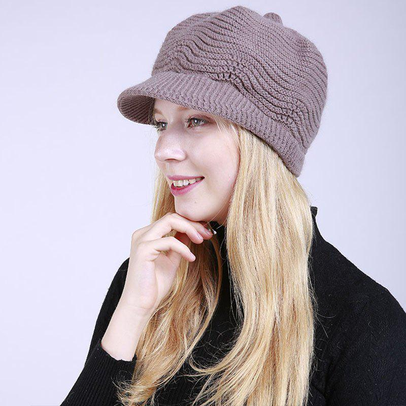 Discount New Lady Fashion Solid with Warm Faux Fur Lining Sweater Soft Spring Winter Hat