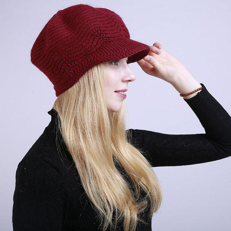 Hot New Lady Fashion Solid with Warm Faux Fur Lining Sweater Soft Spring Winter Hat