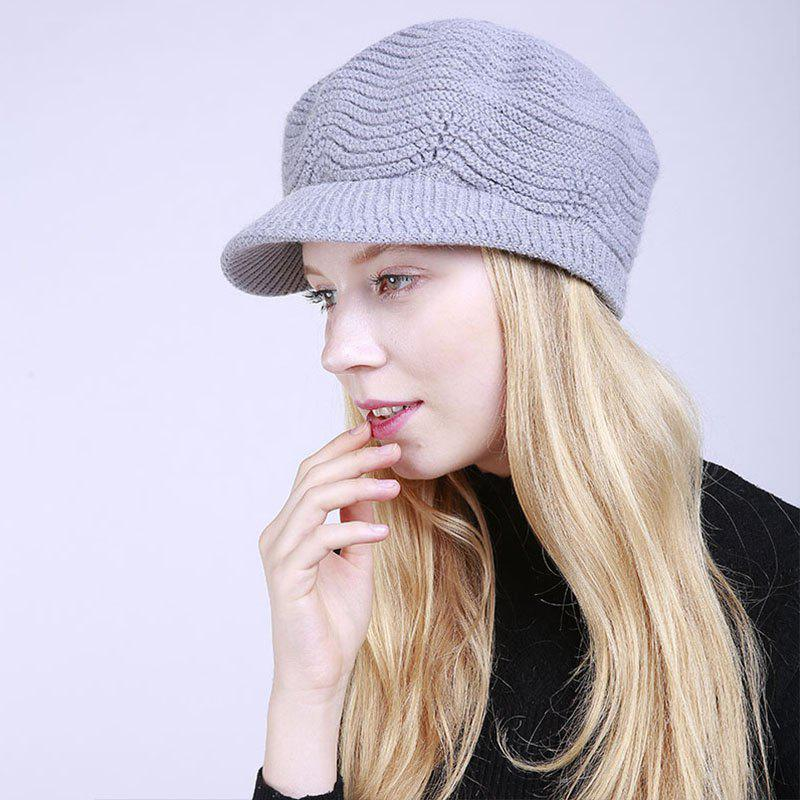 Store New Lady Fashion Solid with Warm Faux Fur Lining Sweater Soft Spring Winter Hat