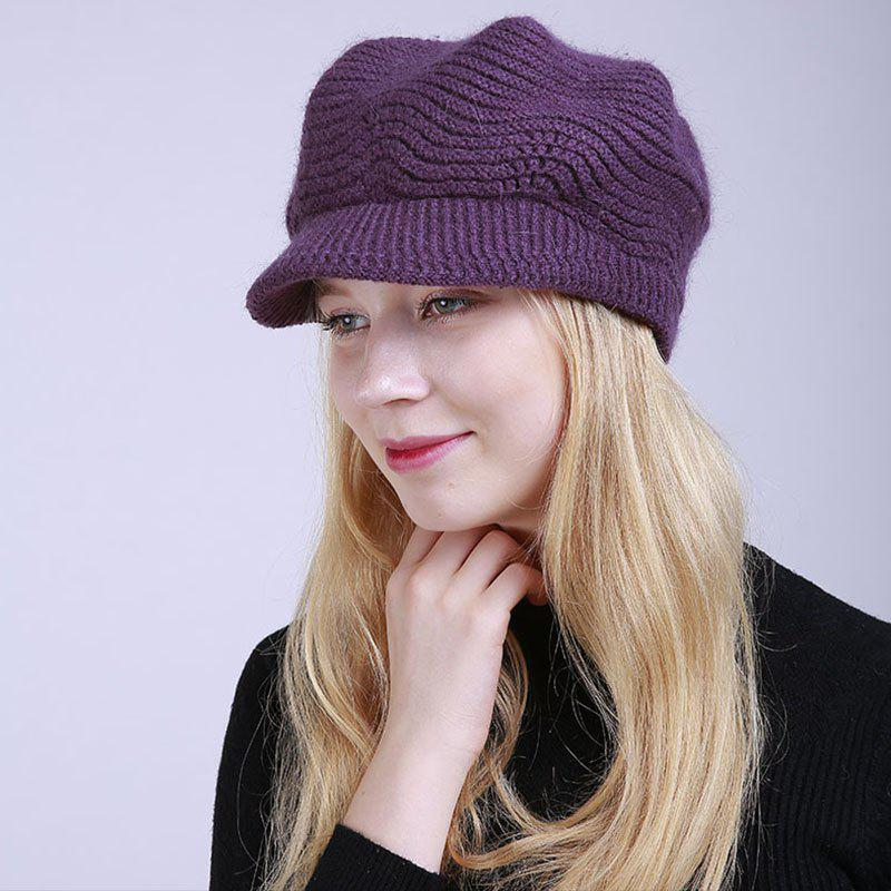 Outfit New Lady Fashion Solid with Warm Faux Fur Lining Sweater Soft Spring Winter Hat