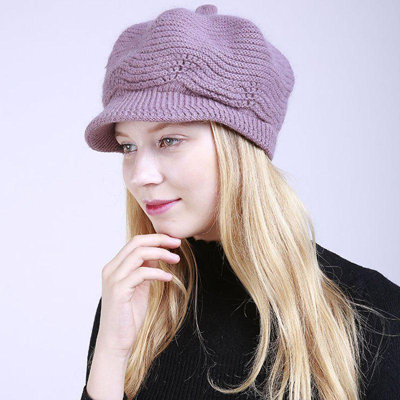 Trendy New Lady Fashion Solid with Warm Faux Fur Lining Sweater Soft Spring Winter Hat