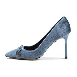 Bow Single Shoes Sexy Stiletto Pointed High Heel Banquet Shoes -