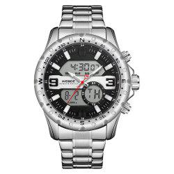WEIDE Men's Multi-function Double-core Display Sports Steel Strip Watch -