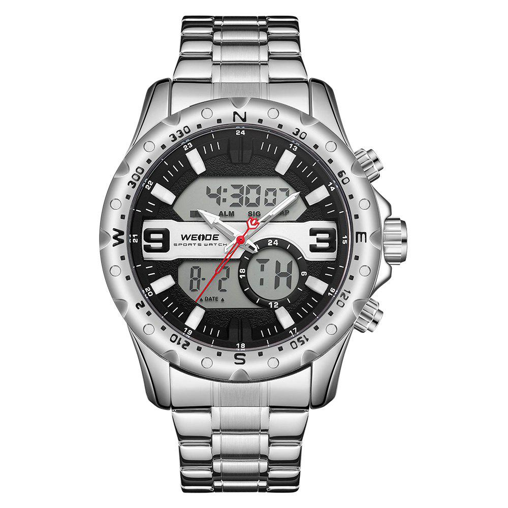 Best WEIDE Men's Multi-function Double-core Display Sports Steel Strip Watch