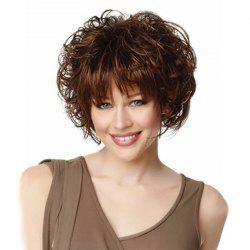 Rose Net Short Curly Brown LiuHai Lifelike Lady Wig -