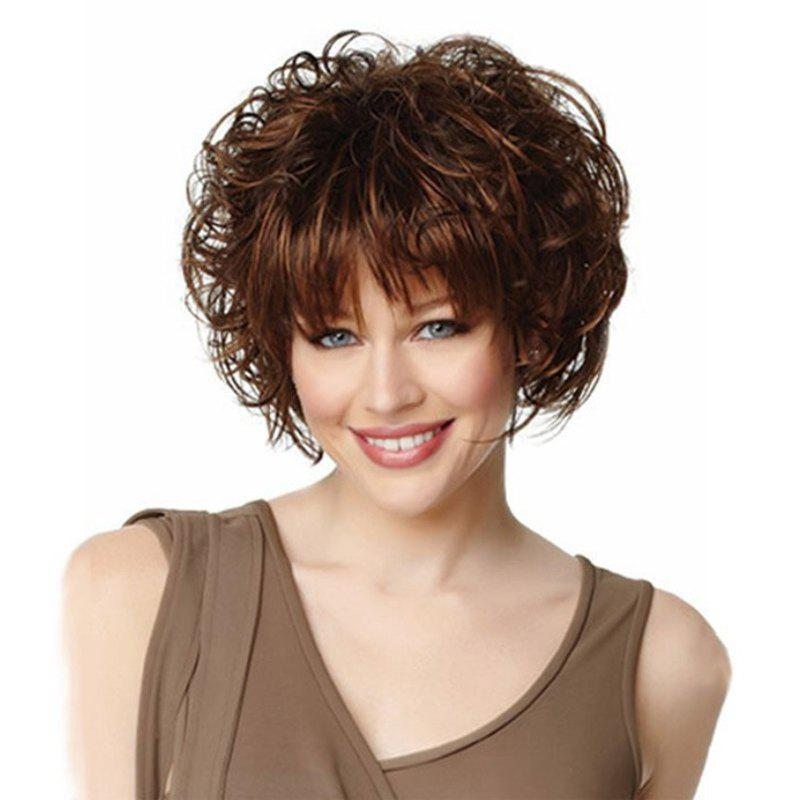 Trendy Rose Net Short Curly Brown LiuHai Lifelike Lady Wig