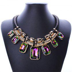 Necklace Fashion Double Leather Square Crystal Stone Clavicle Chain -