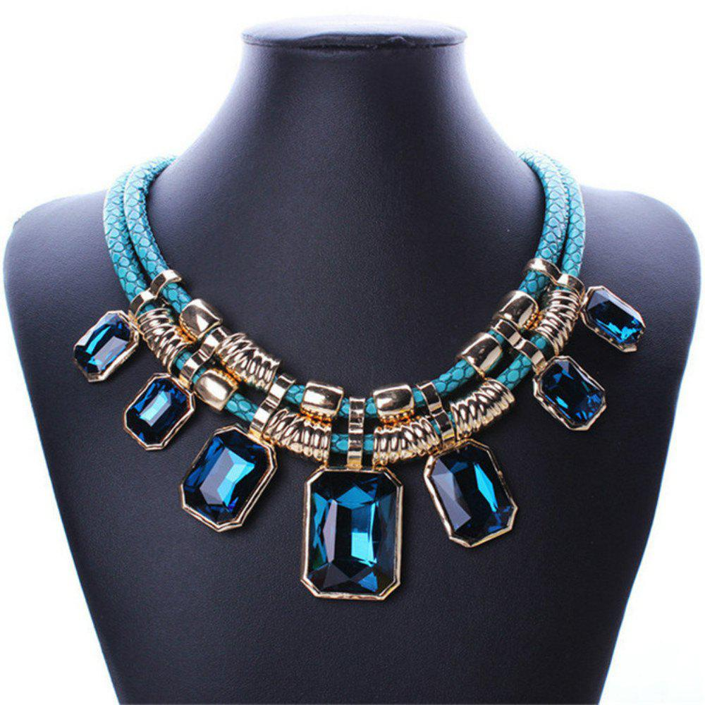 Best Necklace Fashion Double Leather Square Crystal Stone Clavicle Chain