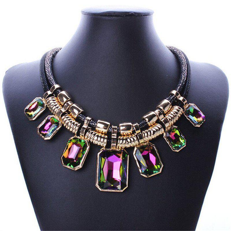 Hot Necklace Fashion Double Leather Square Crystal Stone Clavicle Chain