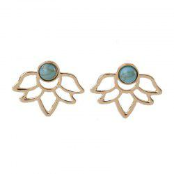 Lady's Temperament Turquoise Double-Sided Lotus Ear Nails -