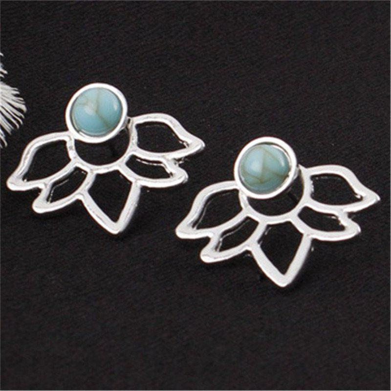 Fashion Lady's Temperament Turquoise Double-Sided Lotus Ear Nails