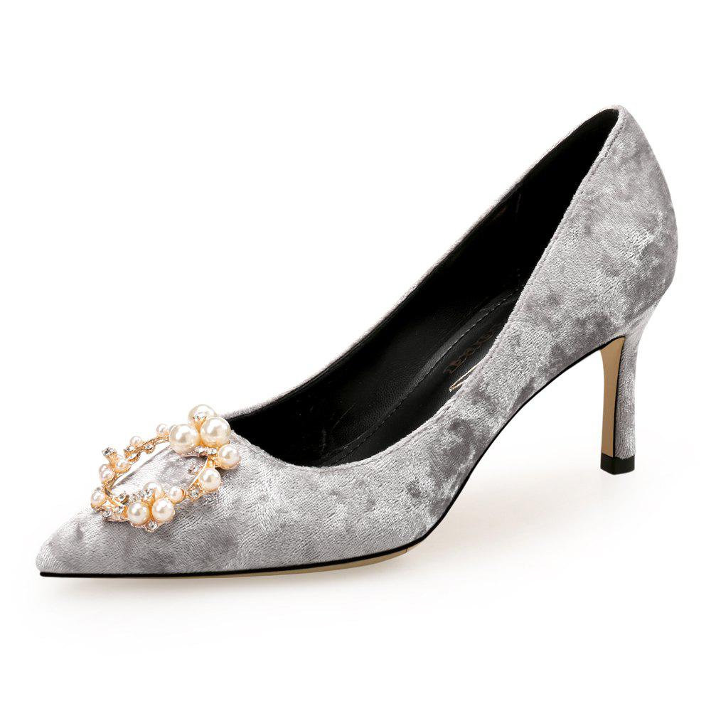 Best Pointed Stiletto Shallow Mouth Pearl Rhinestone Wedding Shoes