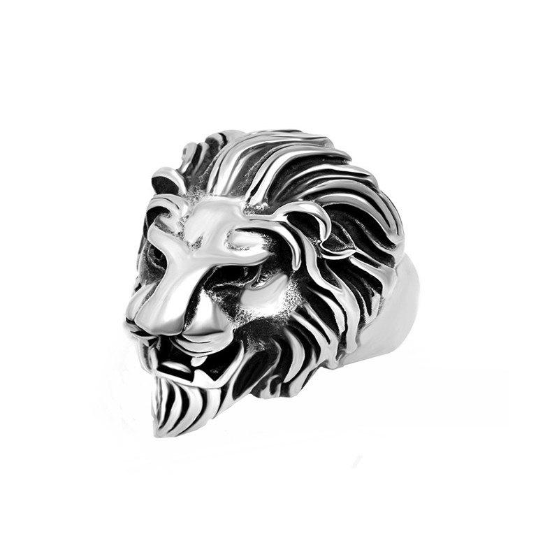 Chic Trendy Golden Men's Silver Exaggerated Lion Head Ring