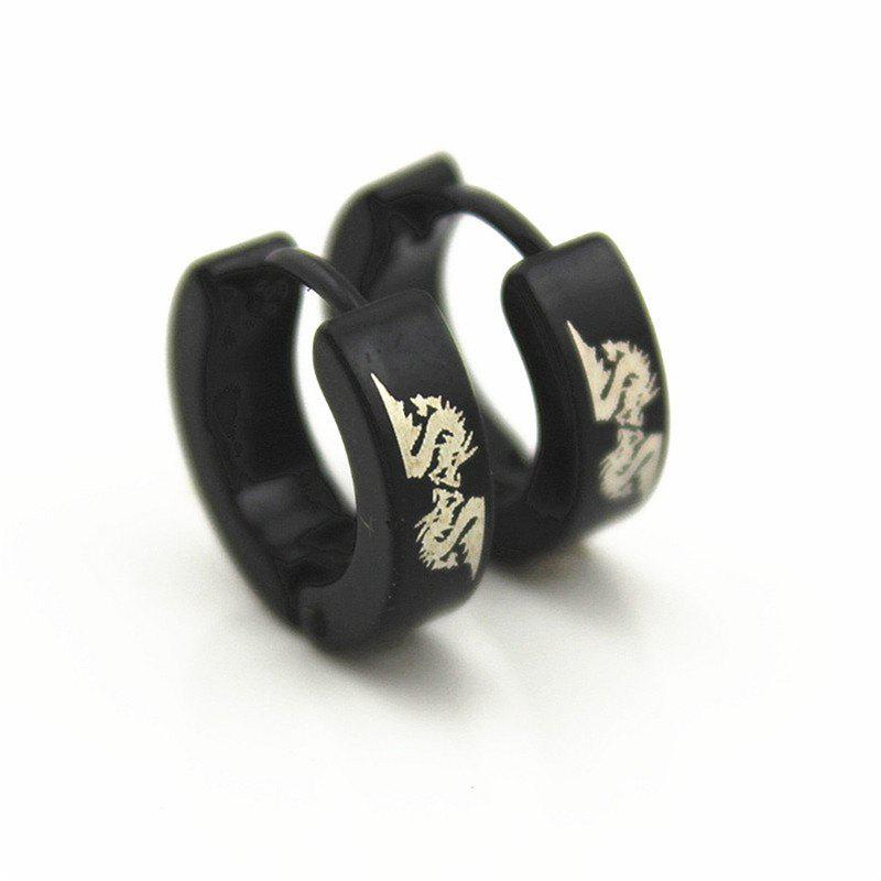 Unique Chao Ren Fashion Men's Dragon-Shaped Stainless Steel Ear Buttons