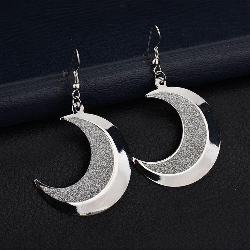 Shop Personality Style Woman's Moon Tooth Frosted Earrings