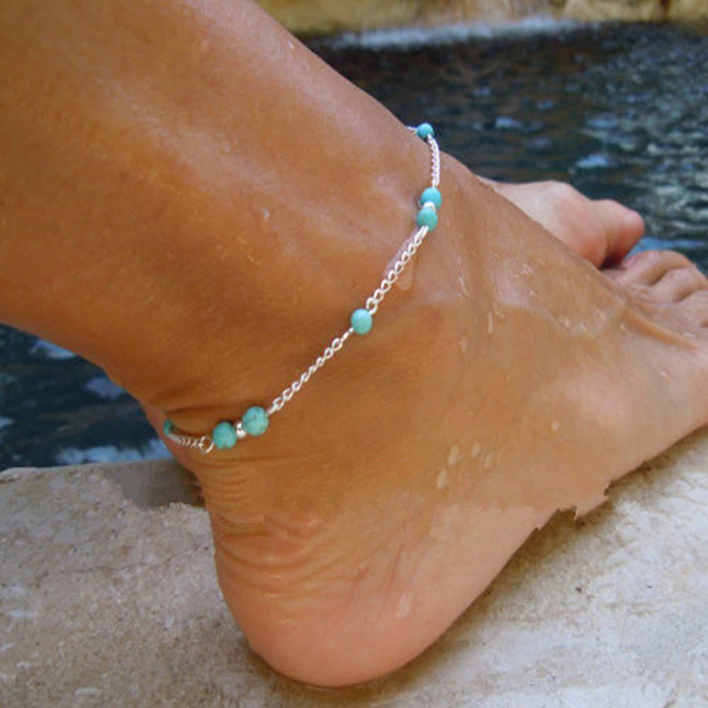 Fancy 1 pc Silver Color Chain Turquoise Anklets