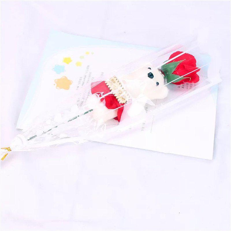 New Valentine's Day 1pcs Bear Rose Soap Flower Bouquet Doll Romantic Courtship Gifts