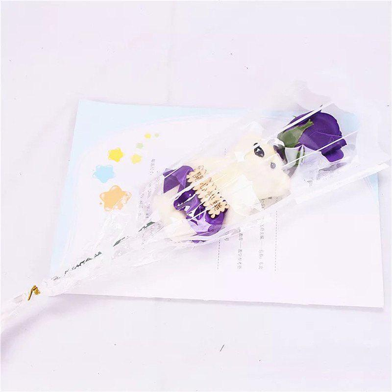 Affordable Valentine's Day 1pcs Bear Rose Soap Flower Bouquet Doll Romantic Courtship Gifts
