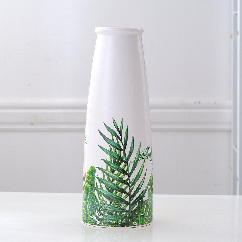 Ornements de fleurs de vase en céramique tropicale Sen Green Turtle Back Leaf Multi-A