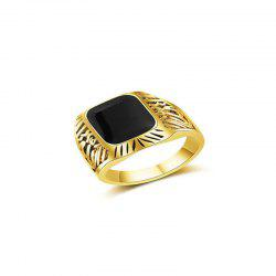 Simple Fashion Men's Square Black Diamond Ring -