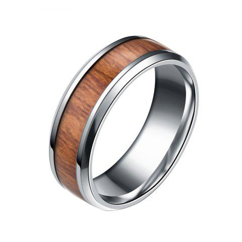 Teak Inlaid Wood Titanium Steel Rings Wedding Rings Fashion Jewelery Unisex