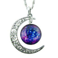 Indian Antique Silver Moon Round Pendant Necklace -
