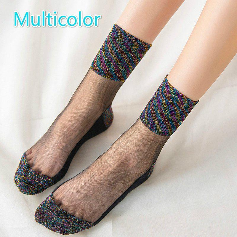Outfit Women Crystal Anti Skid Ultra-Thin Lace Boat Socks