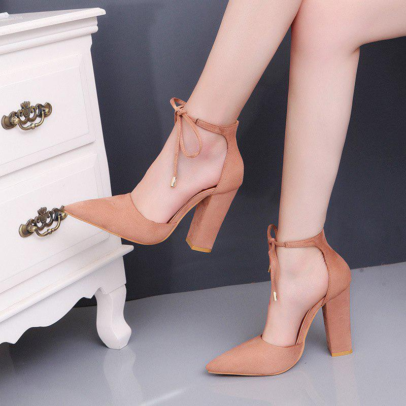 Store Highheeled Laced Womens Shoes With Thick Heels