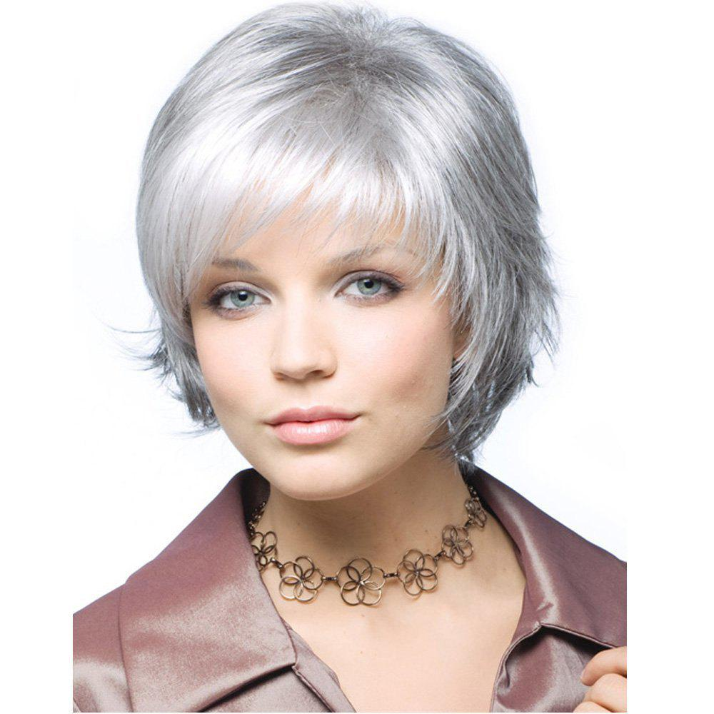 Stylish Intellectuali Lady Short Straight Hair High Temperature Synthetic Wig, Silver