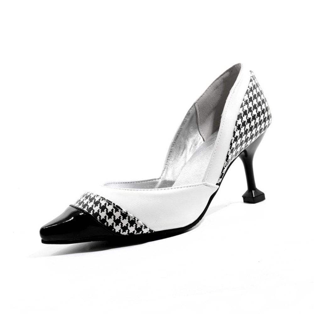 Chic Spring and Summer Pointed Plaid Color Matching Stiletto Heel Single Shoes