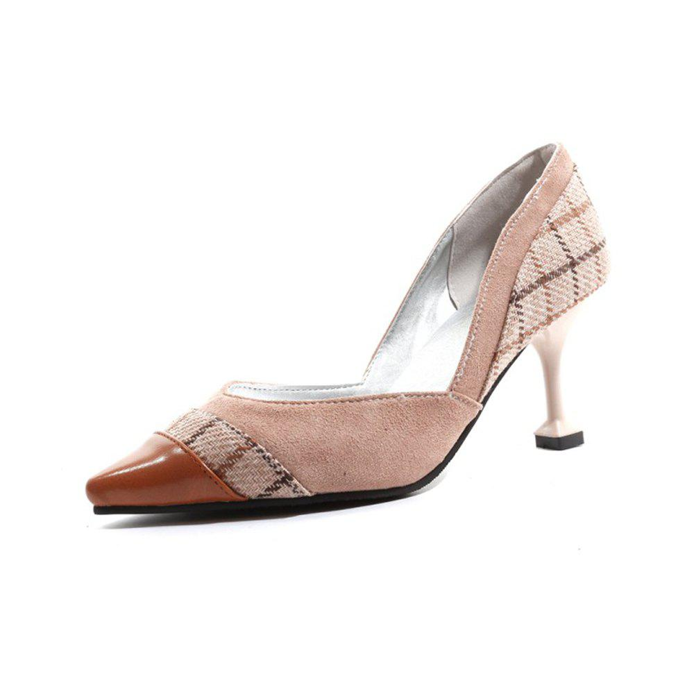 Online Spring and Summer Pointed Plaid Color Matching Stiletto Heel Single  Shoes c0ce5722af4e