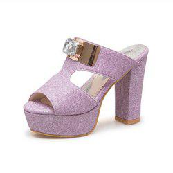 Summer Open Toe High Heel Rhinestone Rough with Female Sandals and Slippers -