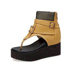 Summer Pin-Toe Open Toe Belt Buckle Thick Bottom Wedge Heel Zipper Sandals -