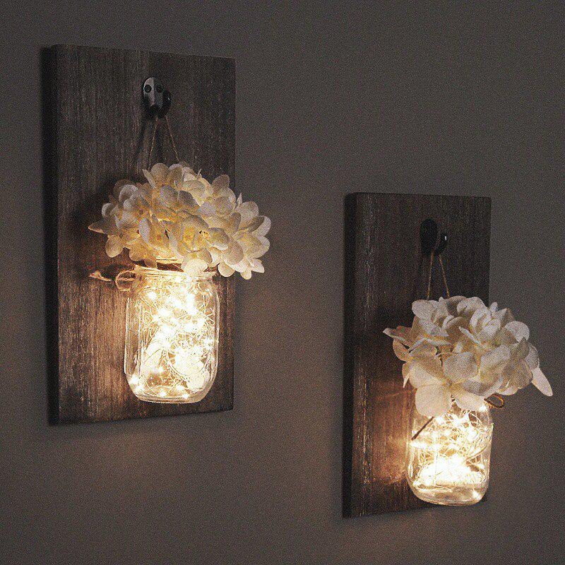 Mason Jar Sconces Hydrangea Flower With Led Strip Lights Design Home Kitchen