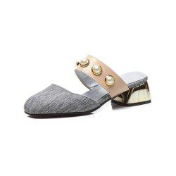 Spring and Summer Pearl Square Head with Fashion Sandals and Slippers -