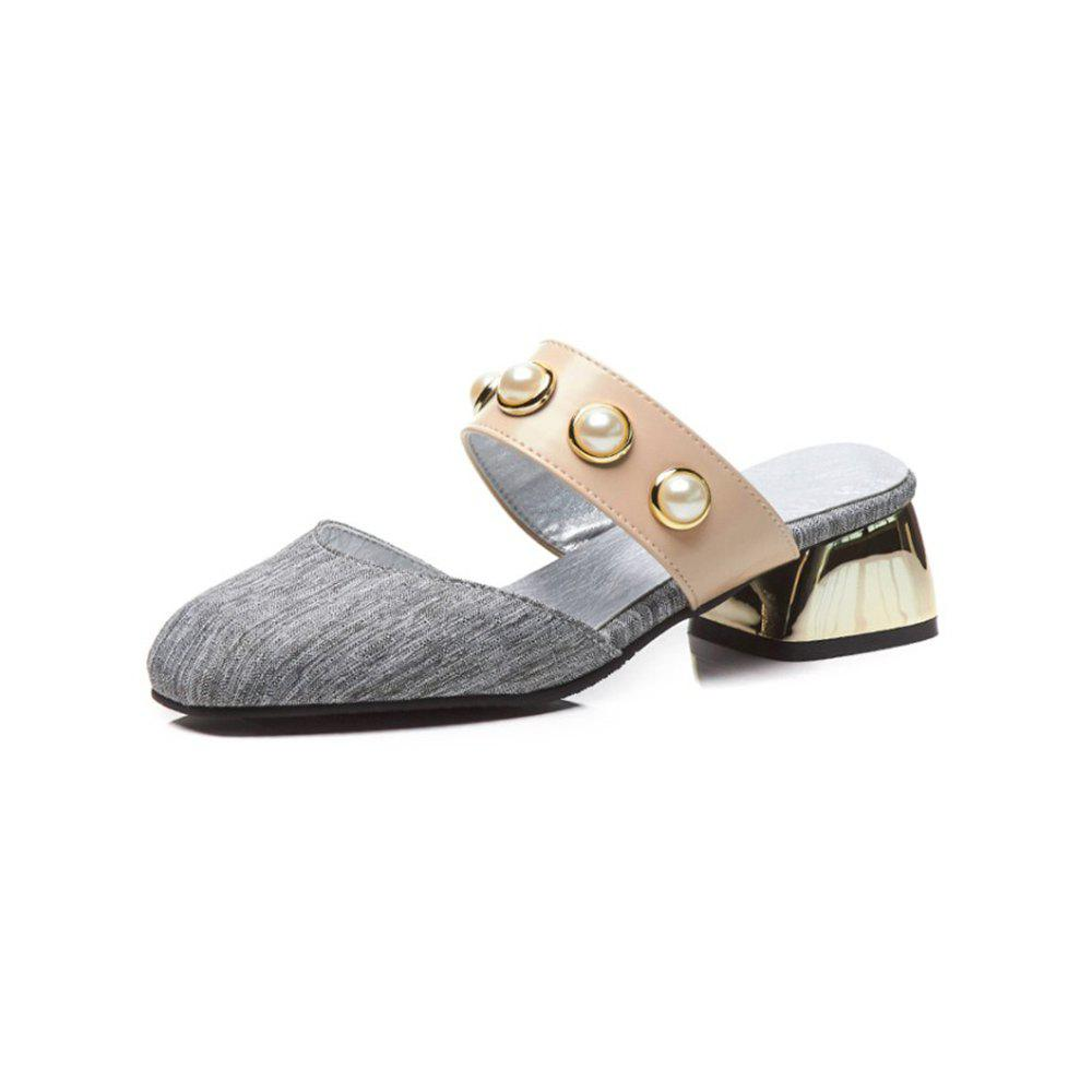 Chic Spring and Summer Pearl Square Head with Fashion Sandals and Slippers