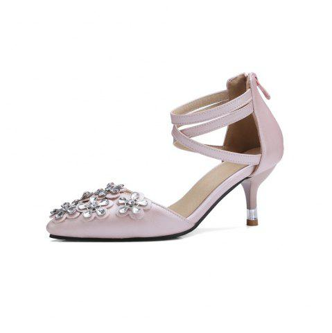 Spring and Summer Pointed  Rhinestone Flower Cross Strap with Sandals