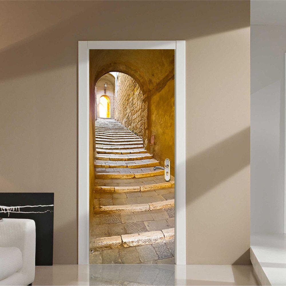 Hot Door Sticker Architecture Stone Step Mural 3D Art Wall Stickers Decorative Decal