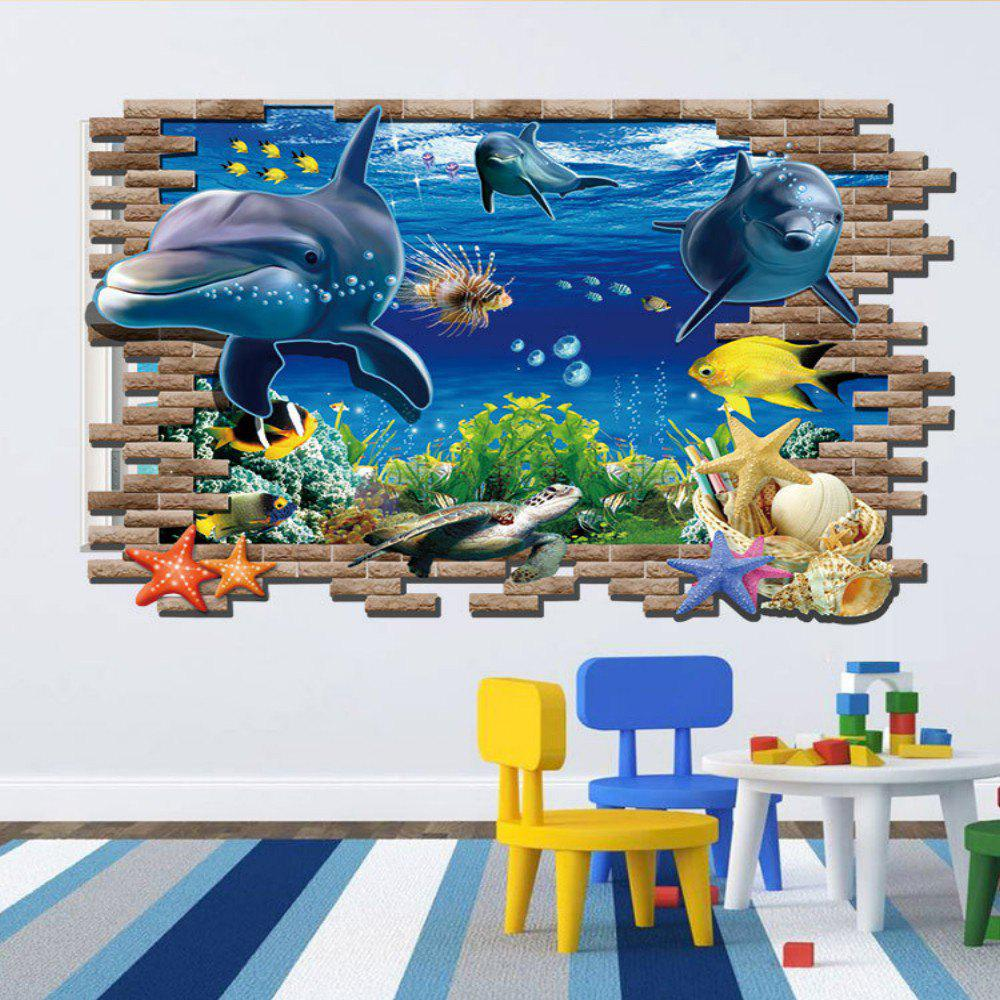 3d Sea World Shark Fishes Pvc Full Color Wall Stickers Kids Nursery Room