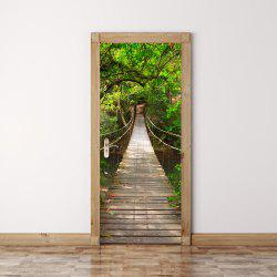 Creative 3D Suspension Bridge Door Sticker DIY Bedroom Removable Green Tree -