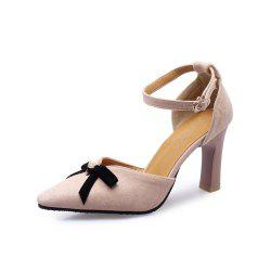 Summer Pointed High Heel Bow Pearl Buckle with Thick Heel Bag with Sandals -
