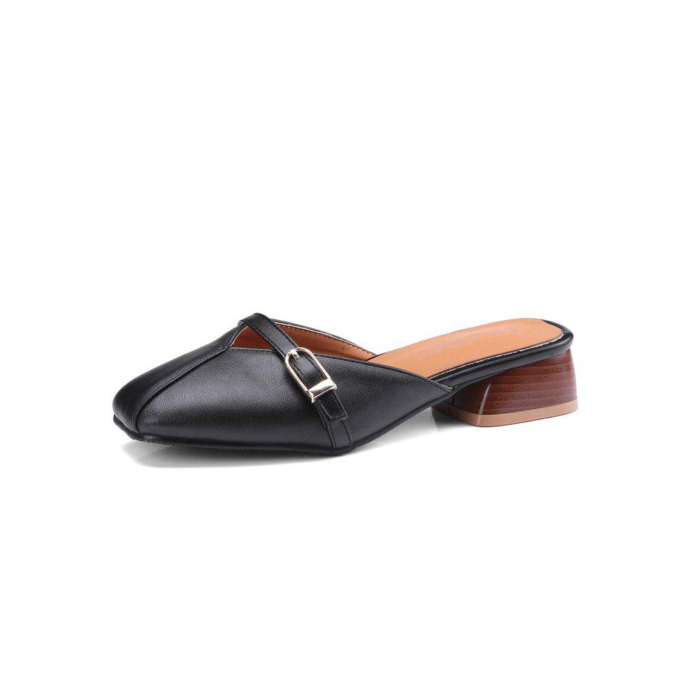Chic Spring and Summer Square Head Buckle Buckle Head with Low Heel Slippers
