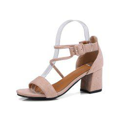 Summer Word Open Toe Thick with Belt Buckle High Heel Bag with Sandals -