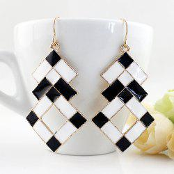 Fashionable Black And White Oil Earrings -