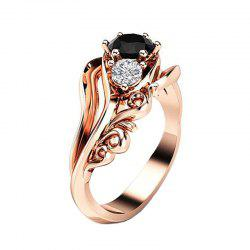 Creative Flower Artificial Diamond Crystal Black Zircon Pierced Ring -