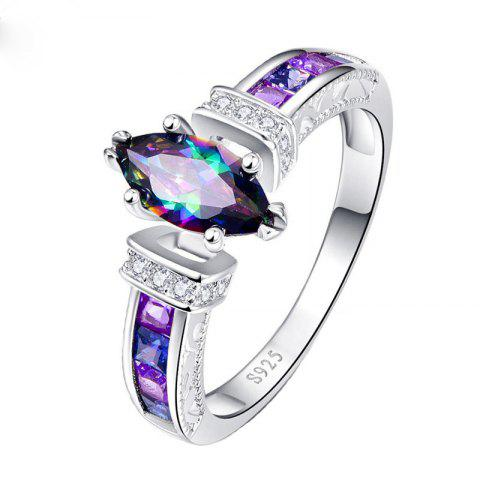 Stylish and Beautiful Colorful Oval Zircon Ring