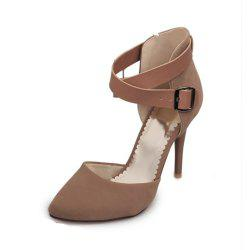 Spring and Summer Pointed Belt Buckle Cross with Stiletto High Heel Sandals -