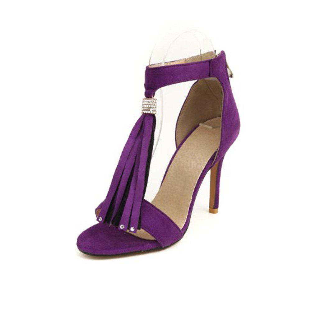 Affordable Summer Word Open Toe Fringed Zipper Stiletto with Solid Color High Heel Sandals