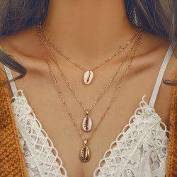 Three Layers of Shell Pendant Women Necklace -